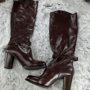 Charles David Cognac Back Zip Knee High Heel Boots